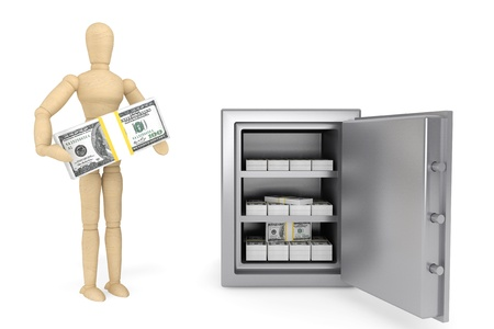 Banking concept. Wooden Dummy and bank safe on a white background Stock Photo - 15725057