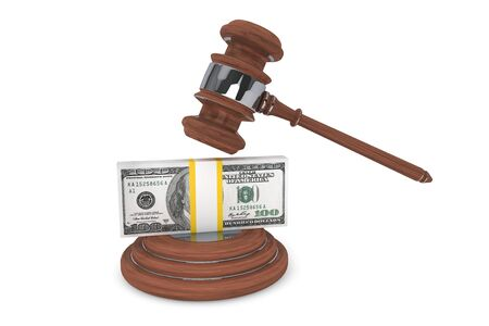 arbitrate: Judge gavel and one hundred dollars on a white background