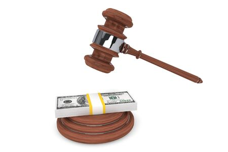 Judge gavel and one hundred dollars on a white background photo