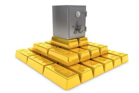 Secure Concept. Stack of golden ingots with bank vault on a white background Stock Photo - 15725044