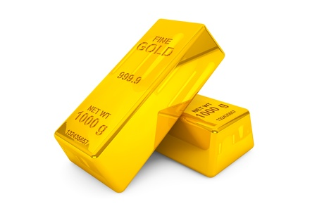 treasury: Two Gold bars on a white background