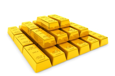 raw gold: Stacked golden bars on a white background Stock Photo