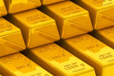 Success concept. Stacked golden bars extreme closeup  Stock Photo