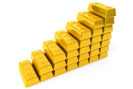 fine gold: Stack of Gold bars on a white background