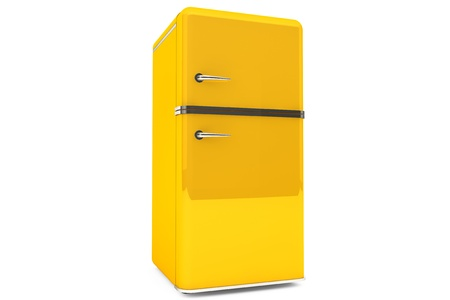 Modern yellow refrigerator on a white background. Stock Photo - 15725021