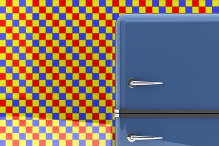 frig: Modern blue refrigerator on a tile background.
