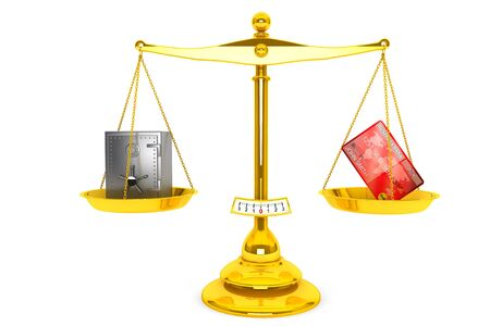 Credit card and safe on scales puted on a white background Stock Photo - 15725032