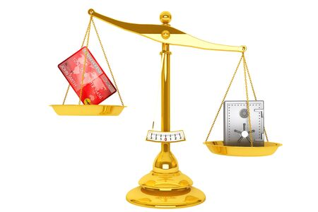 unbalanced: Credit card and safe on scales puted on a white background