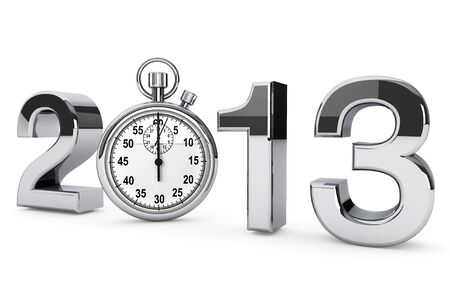 New year 2013 concept. 2013 steel sign with stopwatch on a white background Stock Photo - 16061039