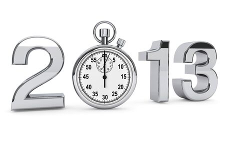 New year 2013 concept. 2013 steel sign with stopwatch on a white background Stock Photo - 16061032