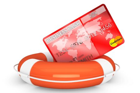 financial emergency: Credit Rescue Concept. Credit Card with lifebuoy on a white background