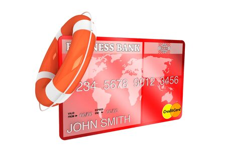 Credit Rescue Concept. Credit Card with lifebuoy on a white background Stock Photo - 16061037