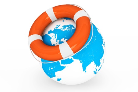 Life Buoy and Earth globe on a white background photo