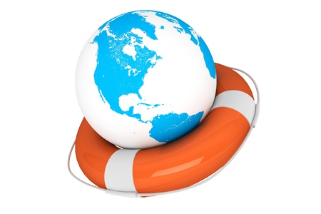 Life Buoy and Earth globe on a white background Stock Photo - 16061034