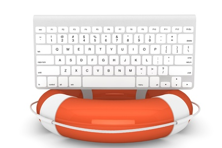 Technical support concept. Computer Keyboard with lifebuoy on a white background Stock Photo - 16061068