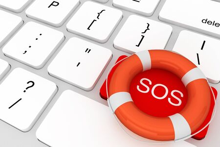 computer key: Assistance concept. Computer Keyboard with red SOS button and lifebuoy  Stock Photo