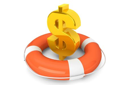 Crisis concept. Golden dollar symbol in Life Buoy on a white background Stock Photo - 16061013