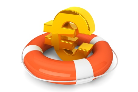 Crisis concept. Golden Euro symbol in Life Buoy on a white background Stock Photo - 16061024