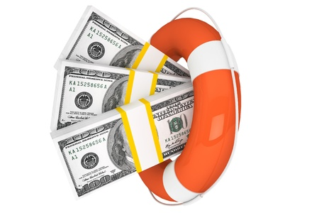 lifeline: Financial Crisis concept. Dollars with Life Buoy on a white background