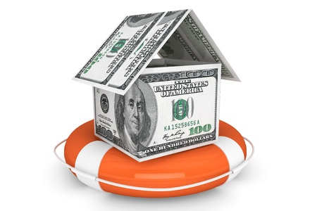Insurance concept. Dollars House with Life Buoy on a white background Stock Photo - 16061079