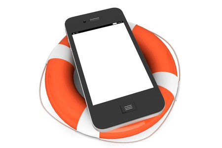 Mobile Phone with lifebuoy on a white background photo