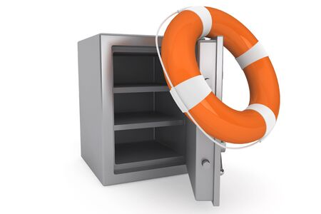 Life Buoy and bank safe on a white background Stock Photo - 16061057