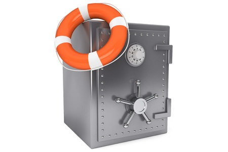 Life Buoy and bank safe on a white background Stock Photo - 16061072