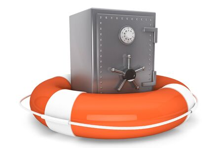 financial emergency: Life Buoy and bank safe on a white background