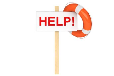 assist: Help Concept. Life Buoy with help sign on a white background Stock Photo