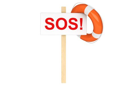 Help Concept. Life Buoy with SOS sign on a white background Stock Photo - 16060984