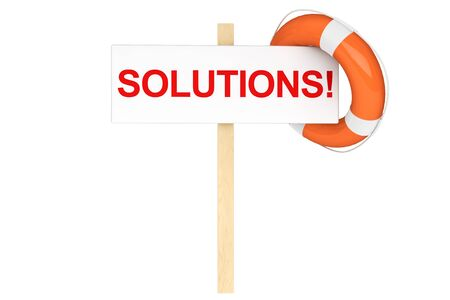 Help Concept. Life Buoy with solutions sign on a white background Stock Photo - 16060992