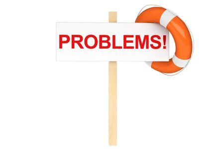 Help Concept. Life Buoy with problems sign on a white background Stock Photo - 16060995