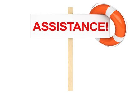 Assistance Concept. Life Buoy with assistance sign on a white background Stock Photo - 16060998