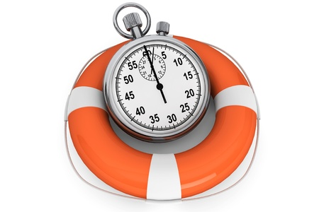 Save the time concept. StopWatch with Life Buoy on a white background photo