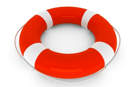 swimming belt: Assistance Concept. Life Buoy on a white background