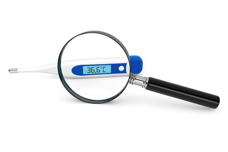 Health Care concept. Medical digital thermometer with magnifier on a white background Stock Photo - 16060987