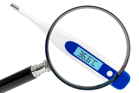 lens unit: Health Care concept. Medical digital thermometer with magnifier on a white background Stock Photo