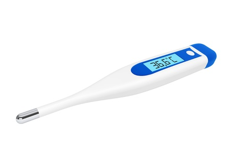 hospital germ: Health Care concept. Medical digital thermometer on a white background