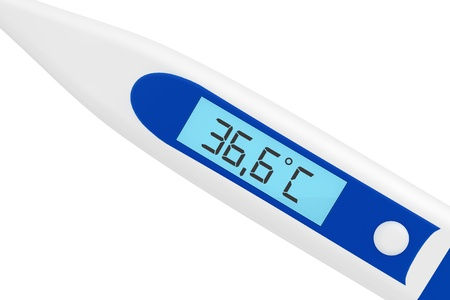 diagnostic medical tool: Health Care concept. Medical digital thermometer on a white background