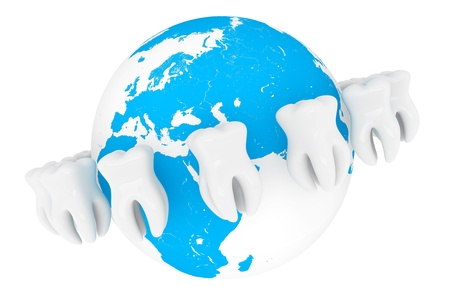 World Stomatology concept. Extreme closeup tooth with globe on a white background Stock Photo - 16061040