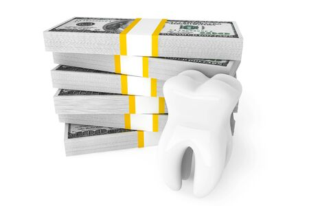 dental implants: Cost of dental concept. Tooth With Money on a white background Stock Photo