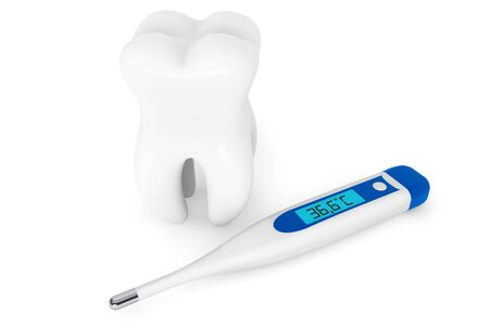 Stomatology concept. Extreme closeup tooth with thermometer on a white background Stock Photo - 16060996