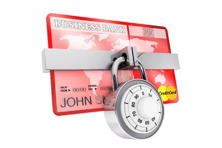 クレジット カードのセキュリティ概念。セキュリティ ロックが白い背景の上でクレジット カード