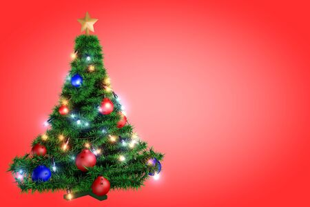 Christmas tree in a full length on a red background photo