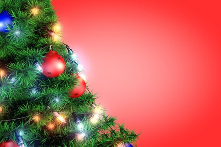 Christmas tree with garland on a red background photo