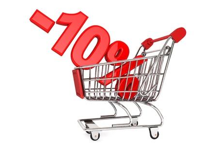 Helgdagar rabatt koncept. Tio procent rabatt i shoping vagn isolerad på en vit bakgrund Stockfoto
