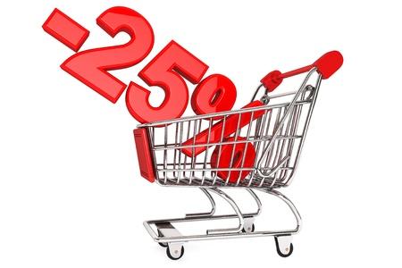 割引: 休日割引の概念。ショッピング カートの白い背景で隔離の 25 % 割引 写真素材