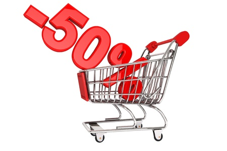 selloff: Holidays discount concept. Fifty percent discount in shoping cart isolated on a white background