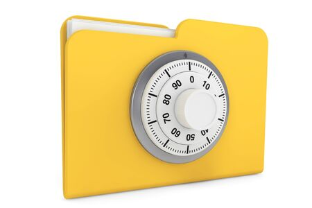 control system: Security concept. Yellow folder and locked combination pad lock on a white background