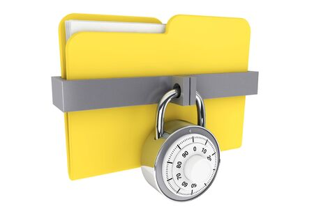 access control: Security concept. Yellow folder and locked combination pad lock on a white background
